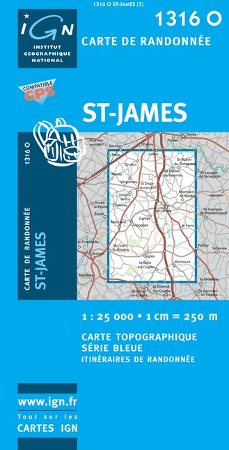 Carte IGN : 1316O - Saint-James (Gps)