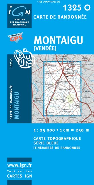 Carte IGN : 1325O - Montaigu (Vendee) (Gps)
