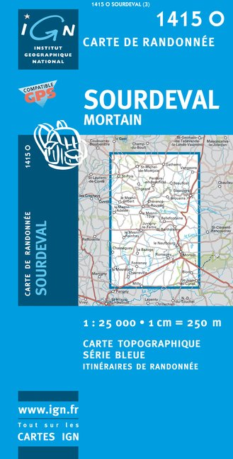 Carte IGN : 1415O - Sourdeval / Mortain (Gps)