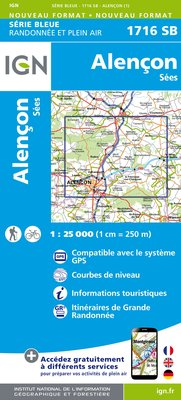 Carte IGN : 1716SB - Alençon.Sees