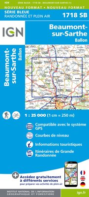 Carte IGN : 1718SB - Beaumont-sur-Sarthe.Ballon