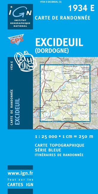 Carte IGN : 1934E - Excideuil (Dordogne) (Gps)