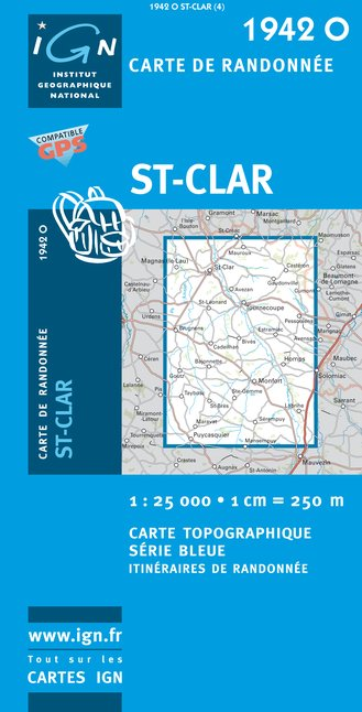 Carte IGN : 1942O - Saint-Clar (Gps)