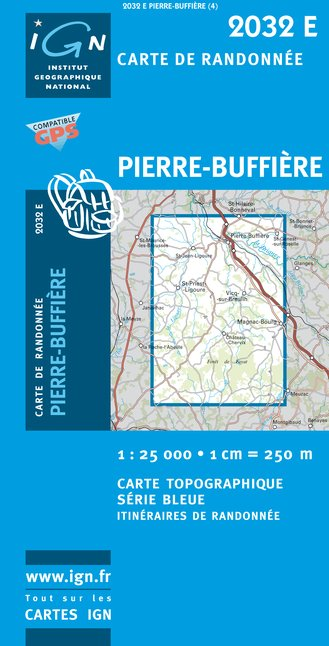 Carte IGN : 2032E - Pierre-Buffiere (Gps)