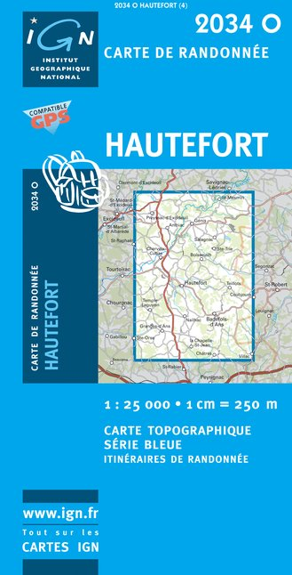 Carte IGN : 2034O - Hautefort (Gps)