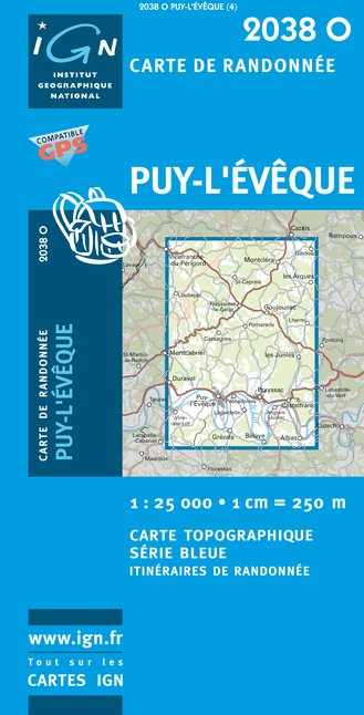 Carte IGN : 2038O - Puy-L'Eveque (Gps)