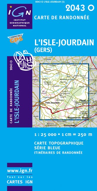Carte IGN : 2043O - L'Isle-Jourdain (Gers) (Gps)