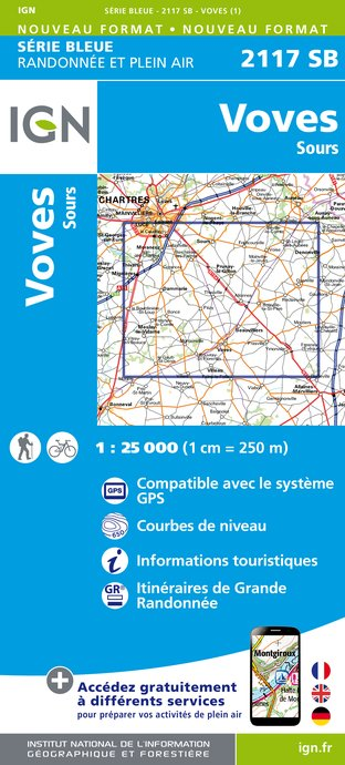 Carte IGN : 2117SB - Voves - Sours