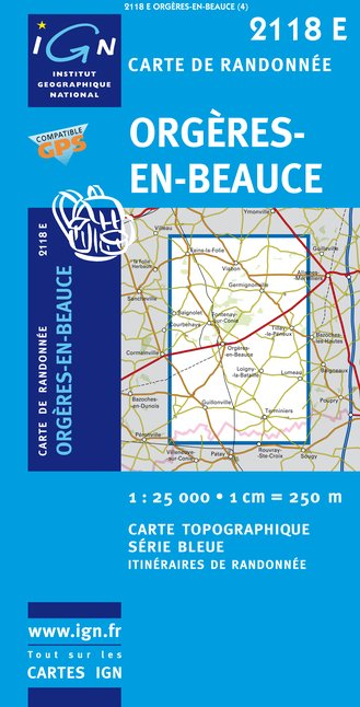 Carte IGN : 2118E - Orgeres-En-Beauce (Gps)