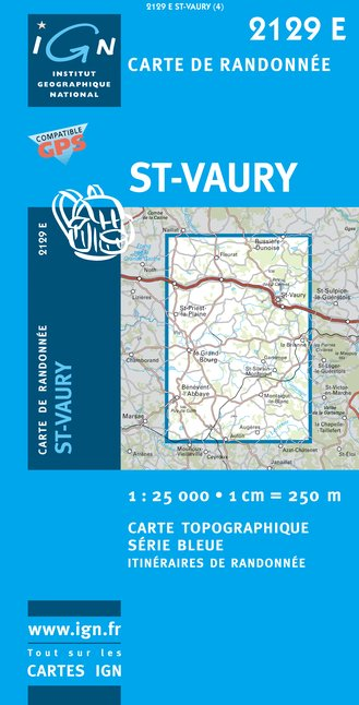 Carte IGN : 2129E - Saint-Vaury (Gps)