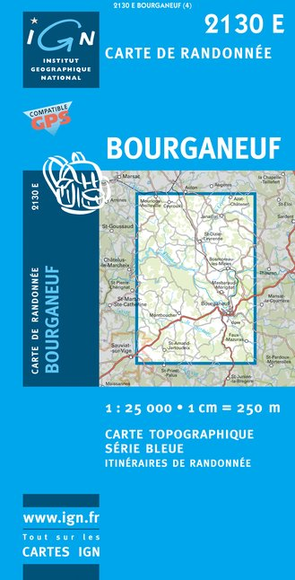 Carte IGN : 2130E - Bourganeuf (Gps)