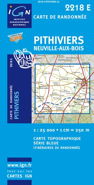 Carte IGN : 2218E - Pithiviers/Neuville-Aux-Bois (Gps)
