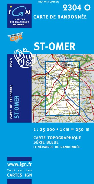 Carte IGN : 2304O - Saint-Omer (Gps)