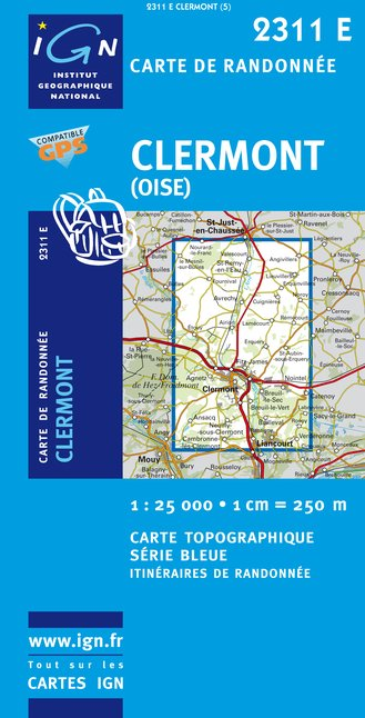 Carte IGN : 2311E - Clermont (Oise) (Gps)