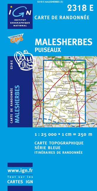 Carte IGN : 2318E - Malesherbes/Puiseaux (Gps)