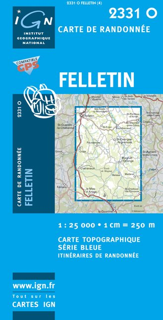 Carte IGN : 2331O - Felletin (Gps)
