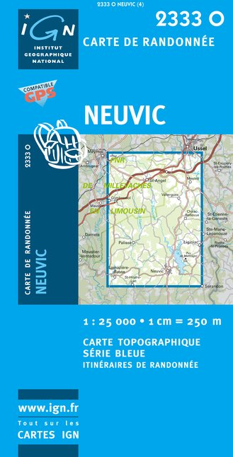 Carte IGN : 2333O - Neuvic (Gps)