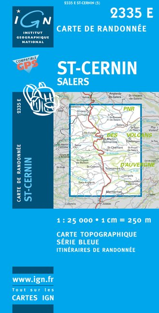 Carte IGN : 2335E - Saint-Cernin/Salers (Gps)