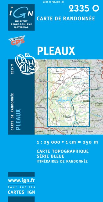 Carte IGN : 2335O - Pleaux (Gps)