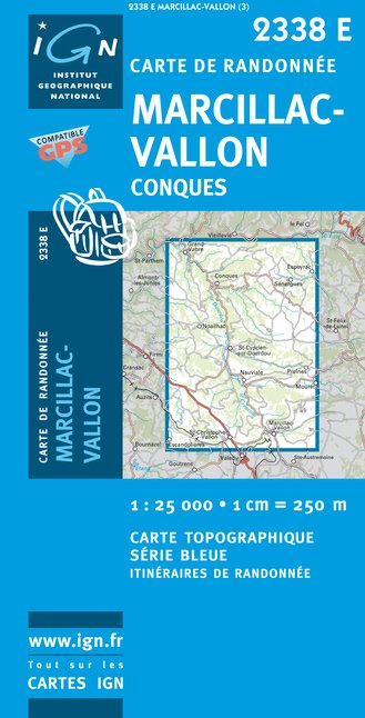 Carte IGN : 2338E - Marcillac/Vallon/Conques (Gps)