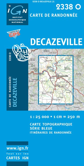 Carte IGN : 2338O - Decazeville (Gps)