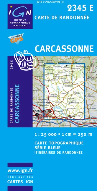 Carte IGN : 2345E - Carcassonne (Gps)