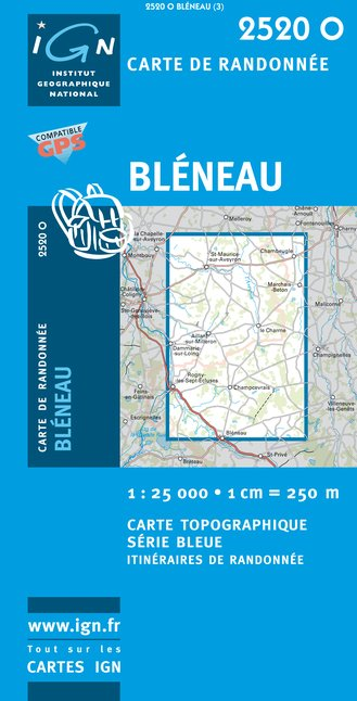 Carte IGN : 2520O - Bleneau (Gps)