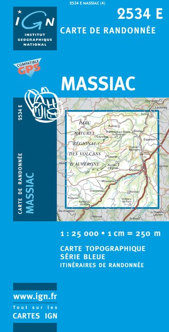 Carte IGN : 2534E - Massiac (Gps)