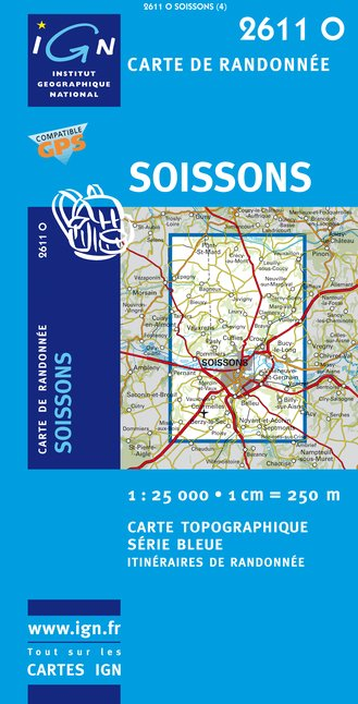 Carte IGN : 2611O - Soissons (Gps)