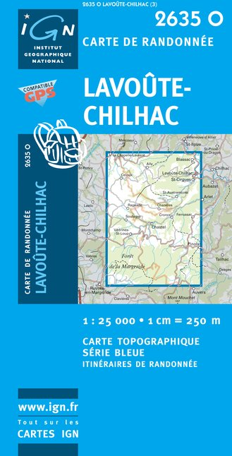 Carte IGN : 2635O - Lavoûte-Chilhac (Gps)