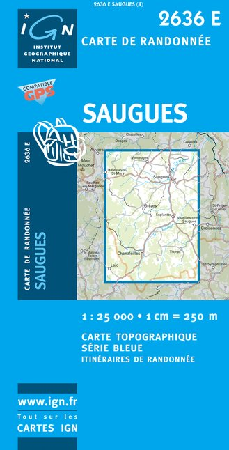 Carte IGN : 2636E - Saugues (Gps)