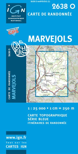 Carte IGN : 2638O - Marvejols (Gps)