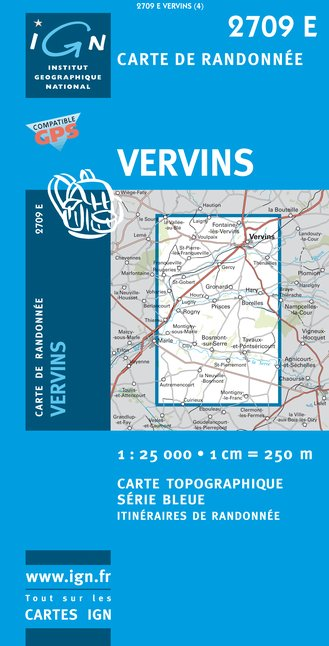 Carte IGN : 2709E - Vervins (Gps)