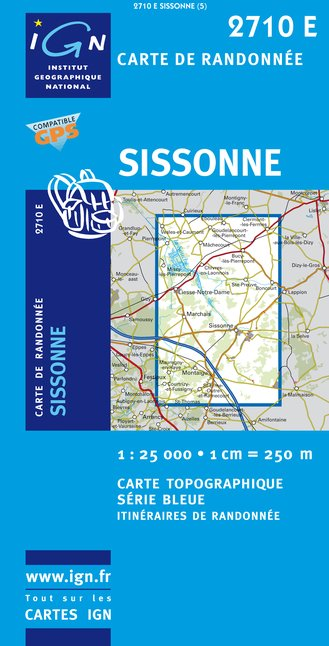 Carte IGN : 2710E - Sissonne (Gps)