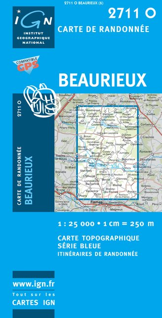 Carte IGN : 2711O - Beaurieux (Gps)