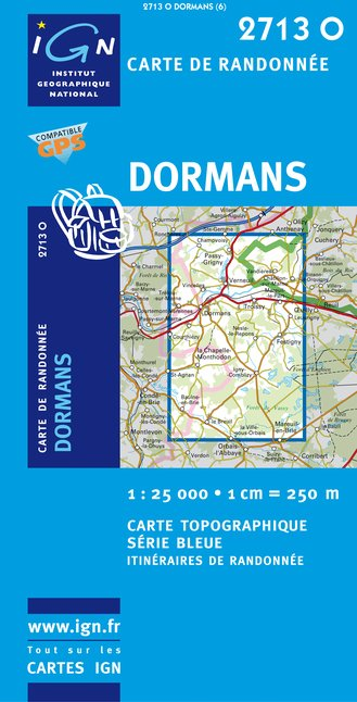 Carte IGN : 2713O - Dormans (Gps)