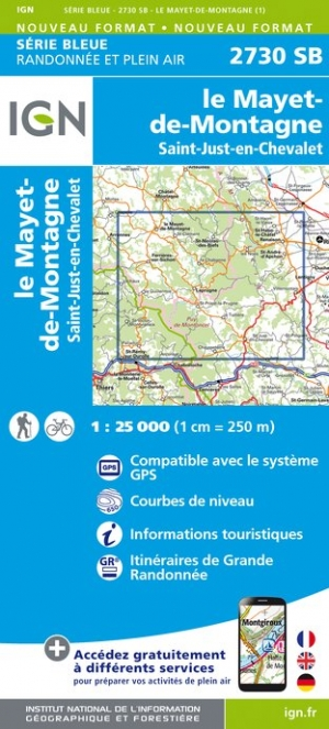Carte IGN : 2730SB - Le Mayet-de-Montagne - Saint-Just-en-Chevalet
