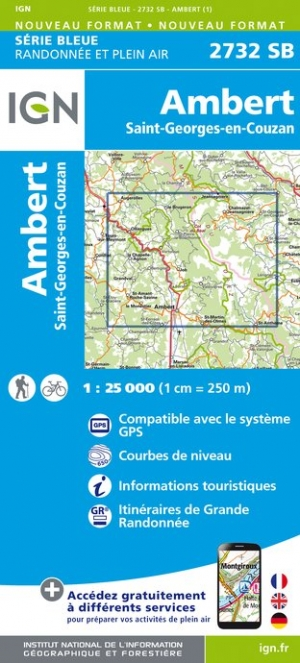 Carte IGN : 2732SB - Ambert - Saint-Georges-en-Couzan
