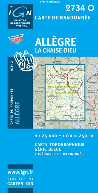 Carte IGN : 2734O - Allegre/La Chaise-Dieu (Gps)