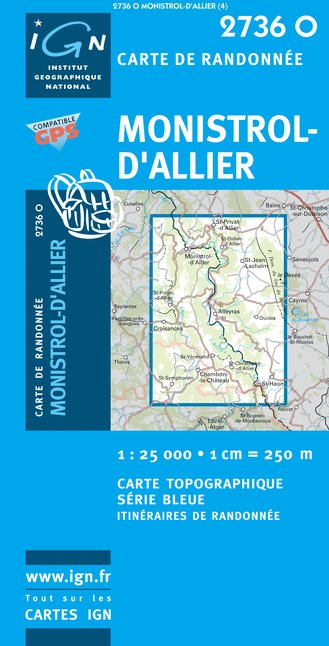 Carte IGN : 2736O - Monistrol d'Allier (Gps)