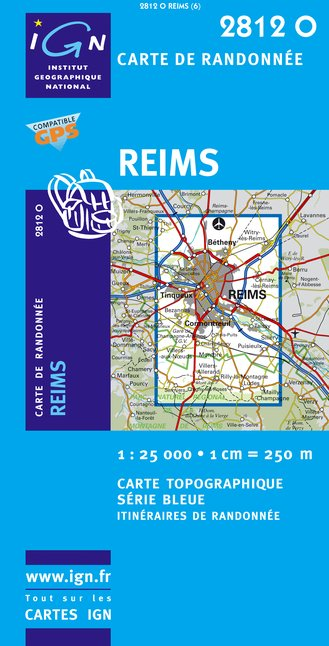 Carte IGN : 2812O - Reims (Gps)