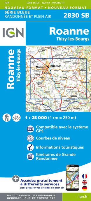 Carte IGN : 2830SB - Roanne - Thizy-les-Bourgs