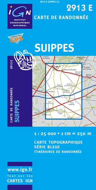 Carte IGN : 2913E - Suippes (Gps)