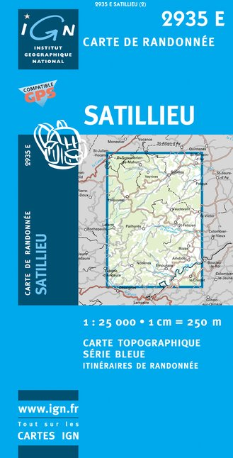 Carte IGN : 2935E - Satillieu (Gps)