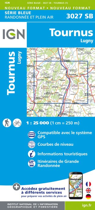 Carte IGN : 3027SB - Tournus - Lugny