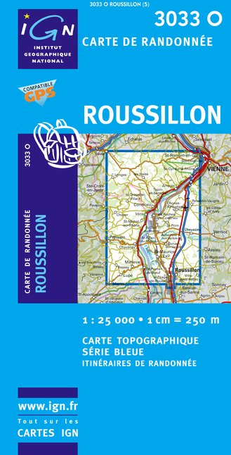 Carte IGN : 3033O - Roussillon (Gps)