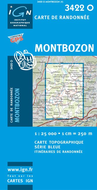 Carte IGN : 3422O - Montbozon (Gps)