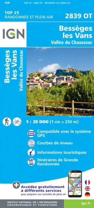 6e4a53e41a Carte IGN Top 25   Série Bleue - Besseges-Les-Vans