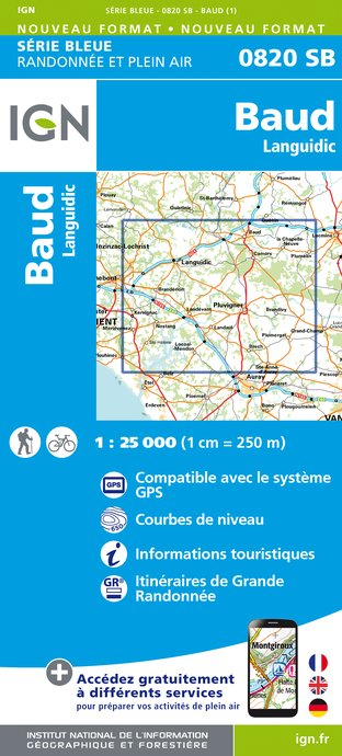 Carte IGN : 0820SB - Baud - Languidic