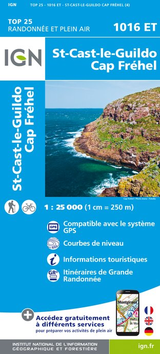 Carte IGN : 1016ET - Saint-Cast-Le-Guildo/Cap Frehel (Gps)
